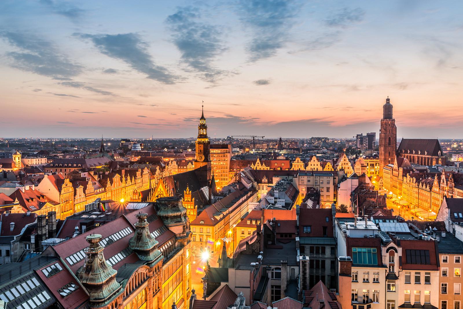 Stadtansicht aus Vogelperspektive von Breslau.